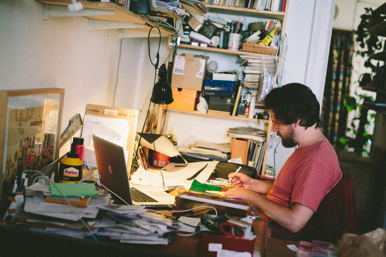 Illustrator & Artist Jan Oksbøl Callesen at work in his studio and home