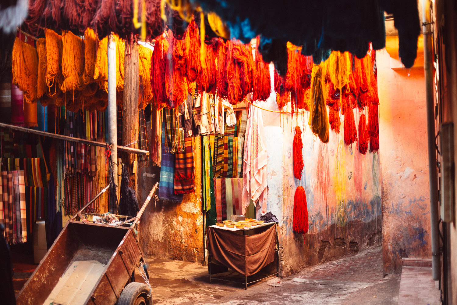 City of Marrakech, Morocco. A back-alley in the dyers market.