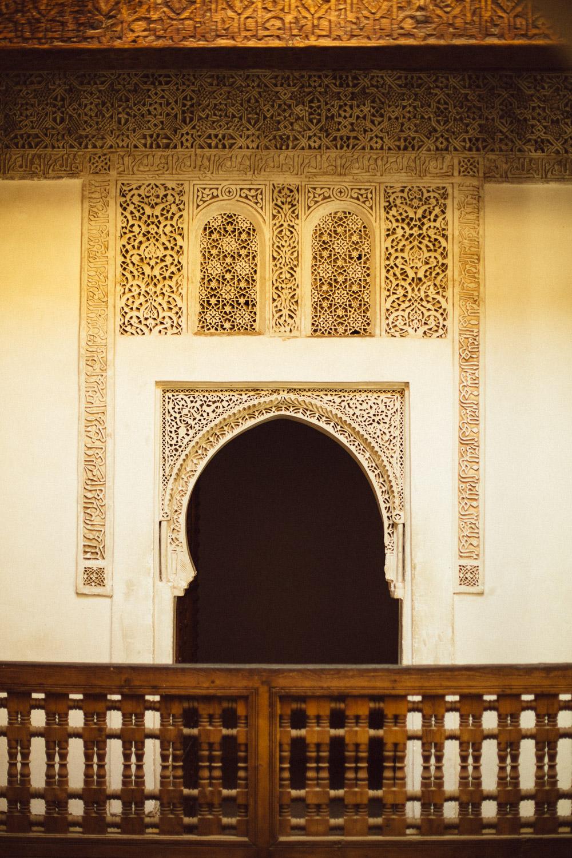 City of Marrakech, Morocco  . Inside the Ben Youssef Madrasa Quranic school.