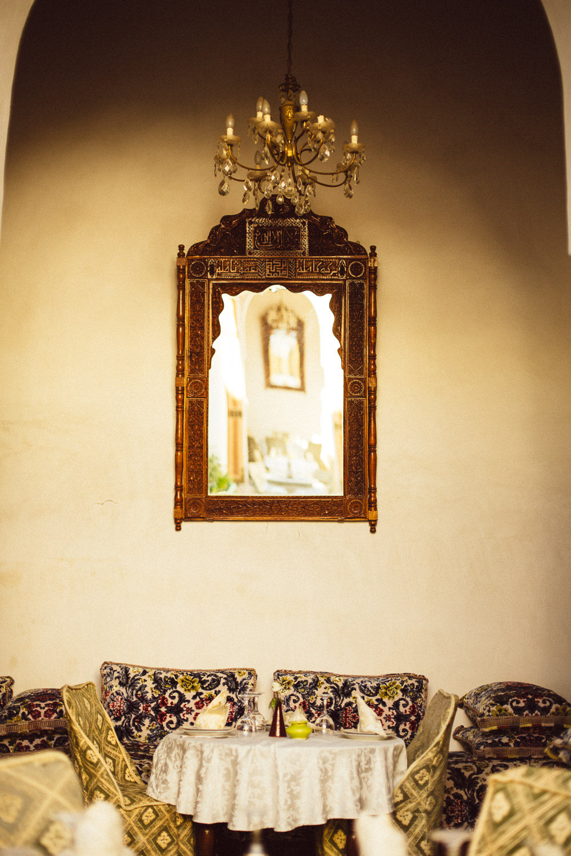 Courtyard of a tea-house and carpet factoryin the Medina.