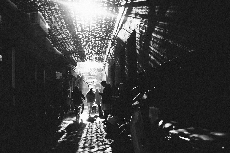Walking in the Medina, Marrakech, Morocco.