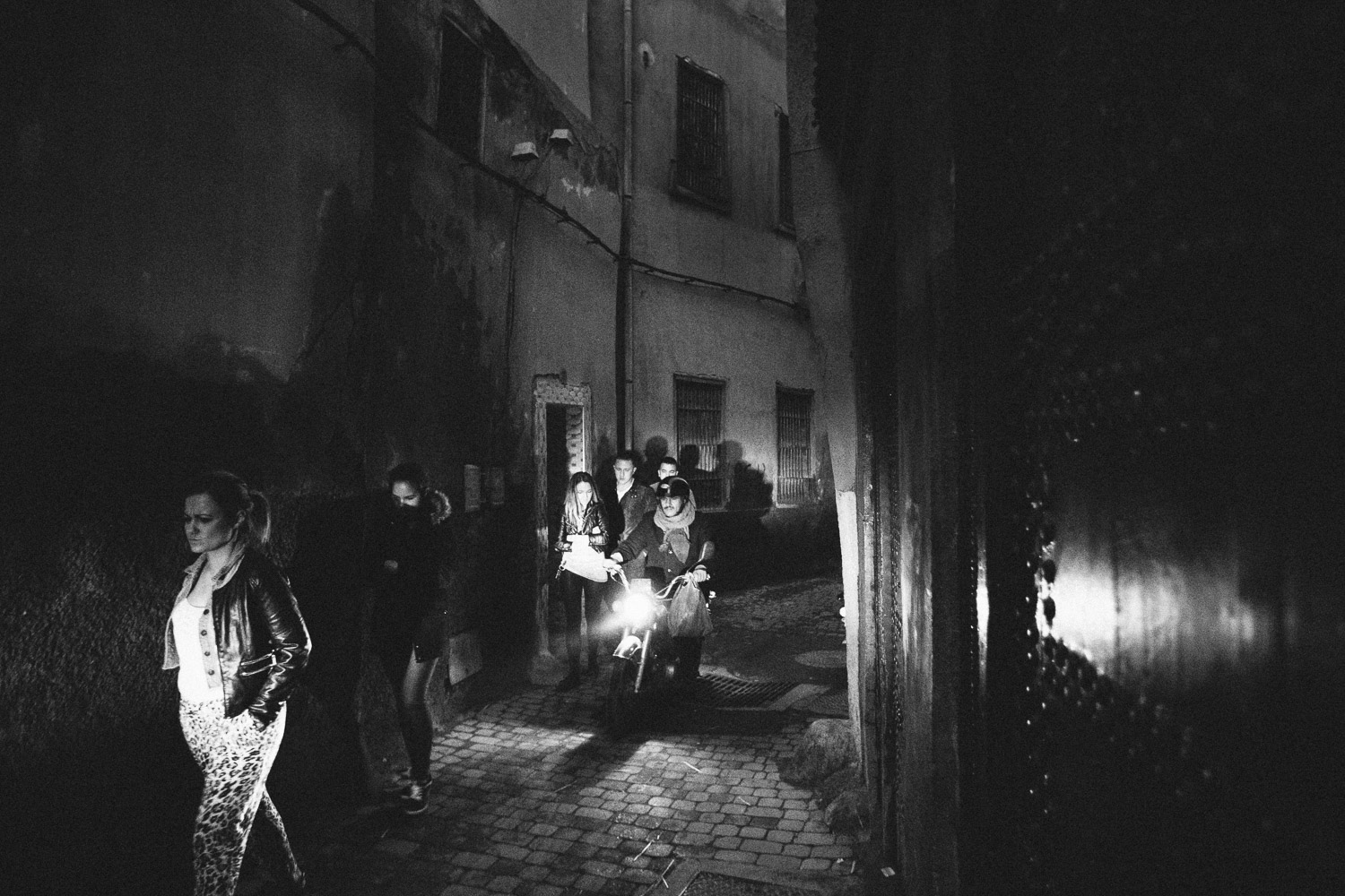 Night-time streets are as busy and crowded (or more) as during the day. Marrakech, Morocco.