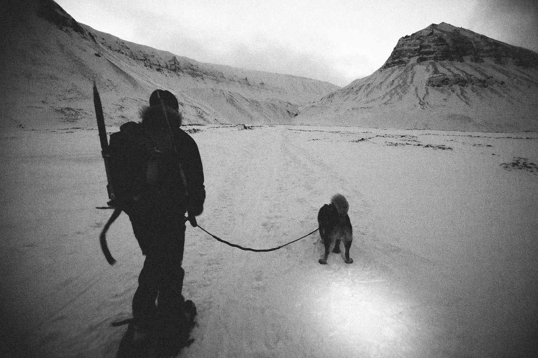 Trekking outsideSvalbard, Longyearbyen, Norway. Minimalistic arctic nature.