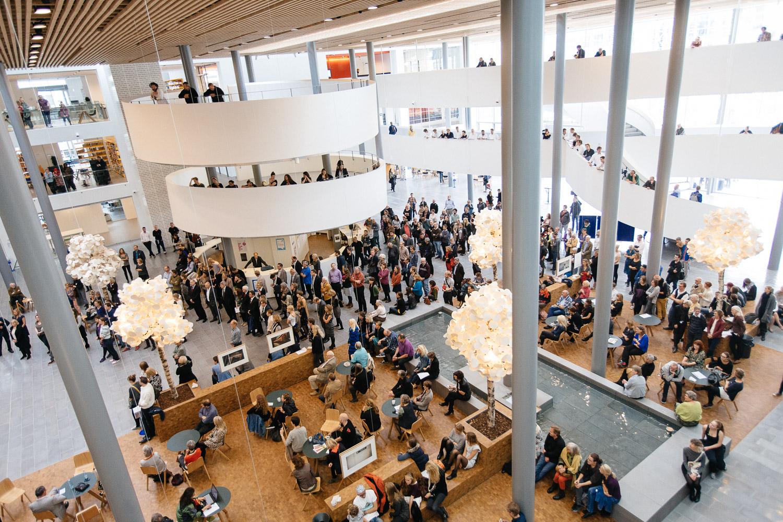 Exhibition opening, Copenhagen University lobby