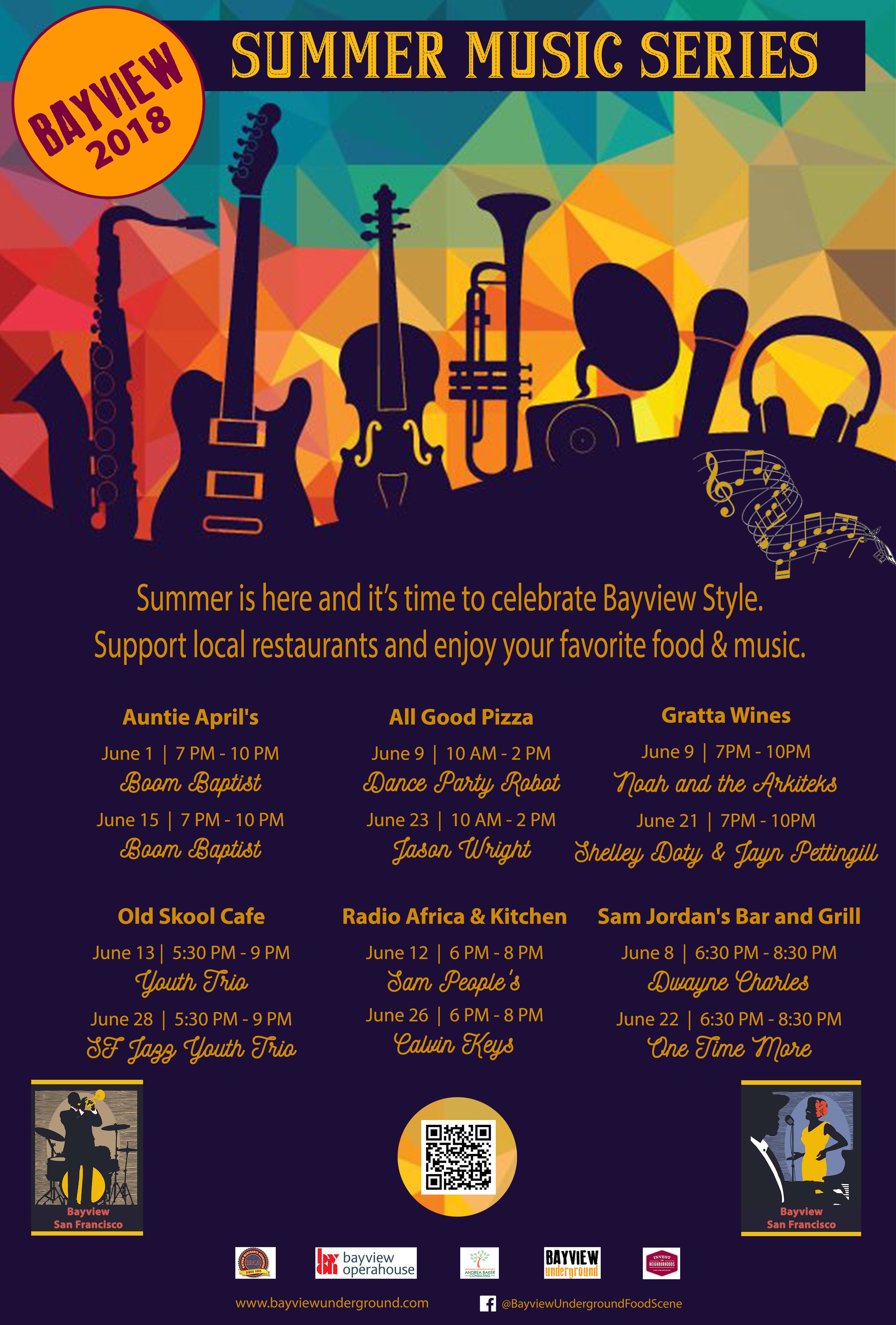 Summer is here and it's time to celebrate, Bayview style. Support local restaurants while enjoying your favorite food & music.  *CANCELED* 6/15, Fri  Auntie April's