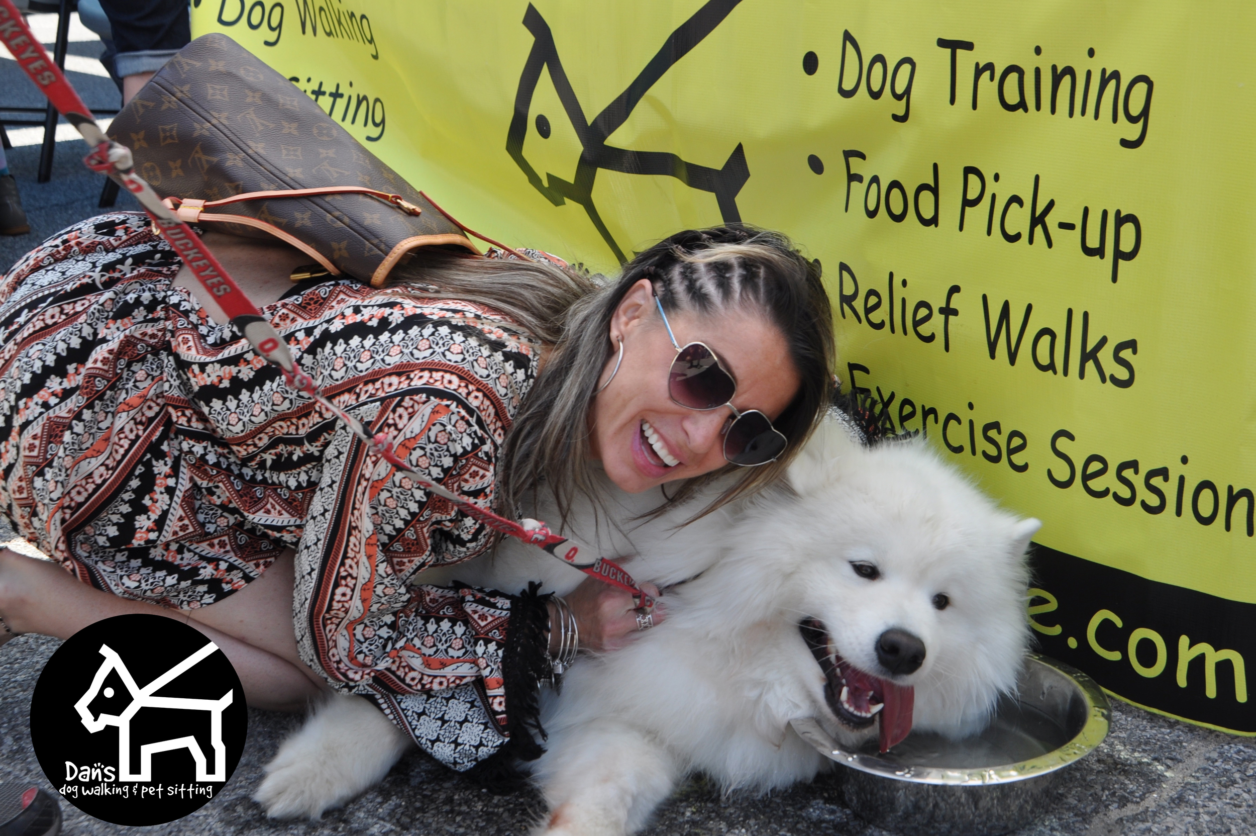 Jenny and Buckeye cooling off at Dan's Dog Walking and Pet Sitting Doggie Photo Booth at Harbor Fest 2015.jpg