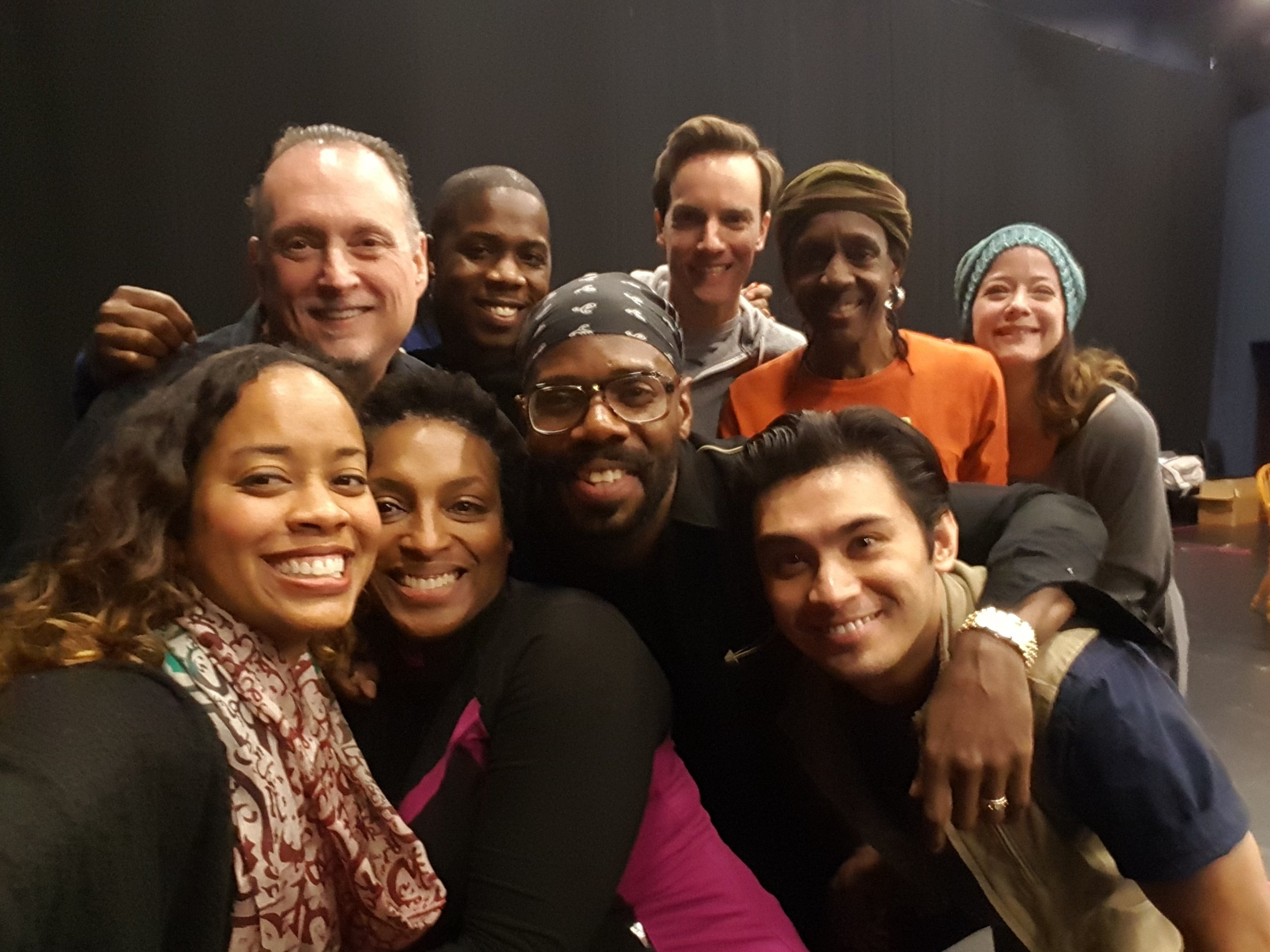 First rehearsal with writer Colman Domingo (center)