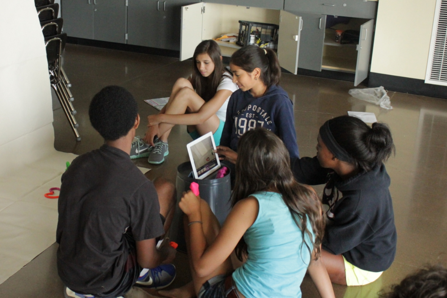 Students collaborating on a stop motion video during summer school 2013.
