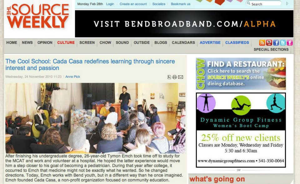 """The  Source weekly  names cada casa """"the cool school"""""""