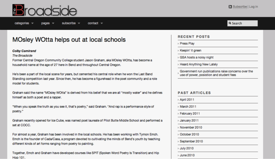 the Broadside talks about cada casa instructor, mosley wotta's work in the community's schools