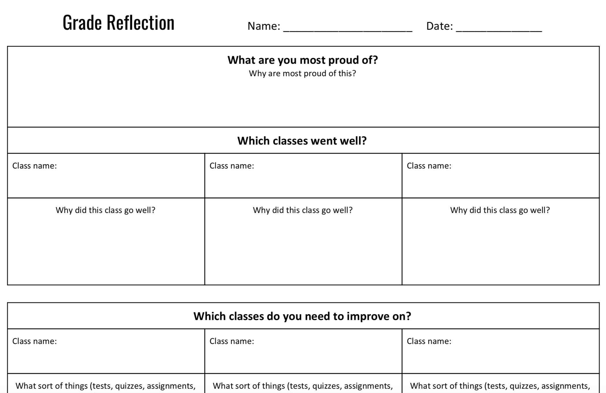 Grade Reflection Worksheet (Middle School)