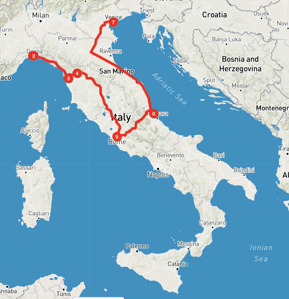 Brief Map of the Italian tour