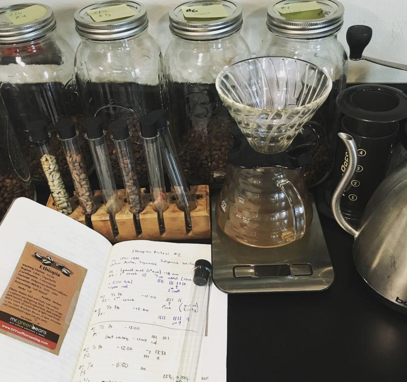 Coffee roasting and brewing experimentation