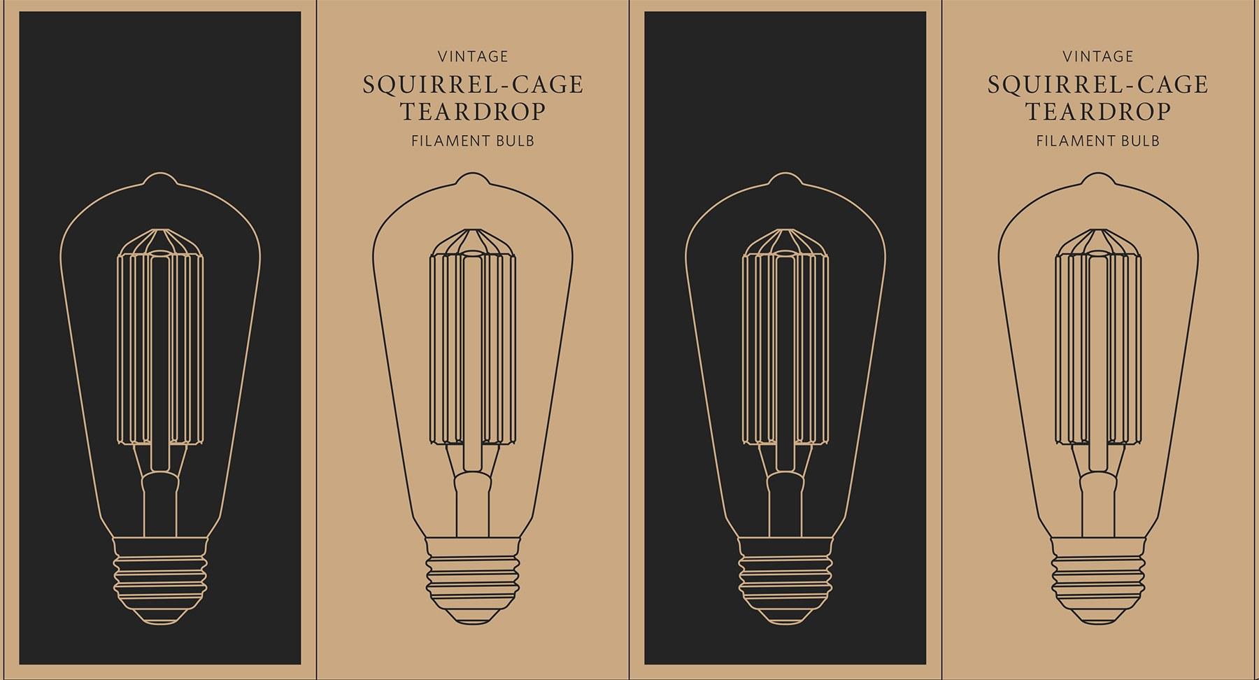 Vintage Squirrel Cage Teardrop Bulb Packaging