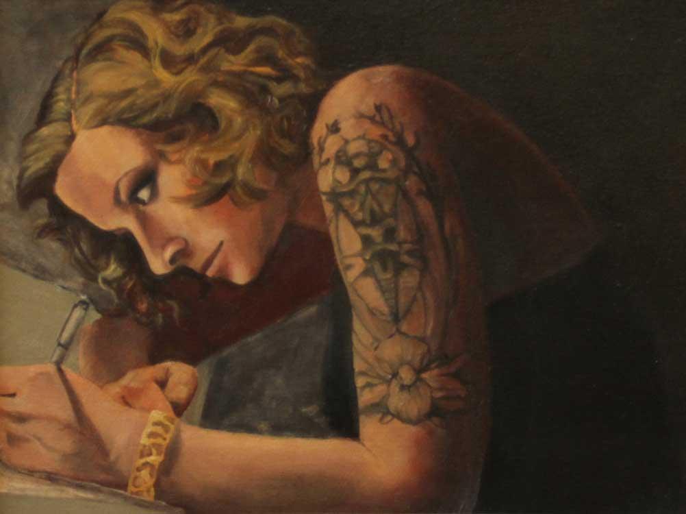 "Genevieve, ""x,"" oil on canvas"