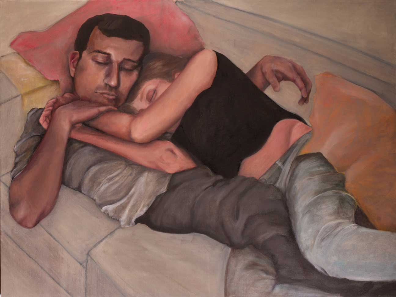 """Laura + Victor, """"x,"""" oil on canvas"""