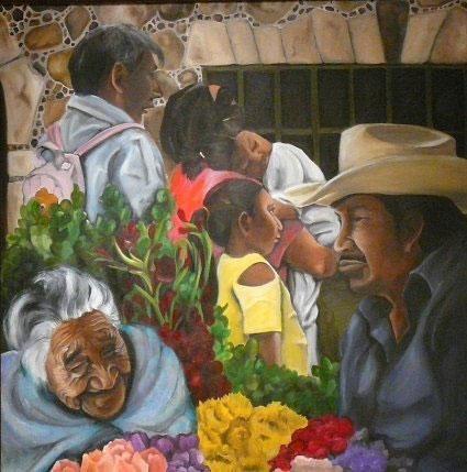 """Floral Market; Tepoztlan, 36""""x36,"""" oil on canvas"""