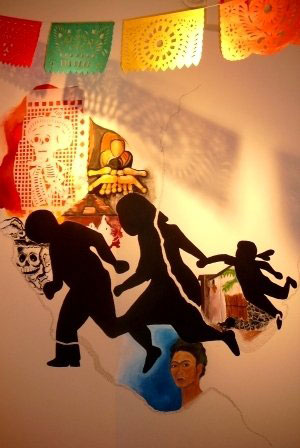 Mural, approximately 6'x10,' acrylic, graphite and collage on the gallery wall