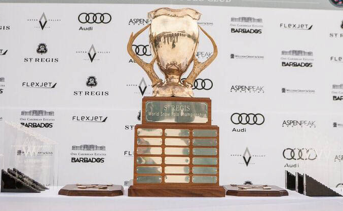 The coveted St. Regis World Snow Polo Championship trophy.