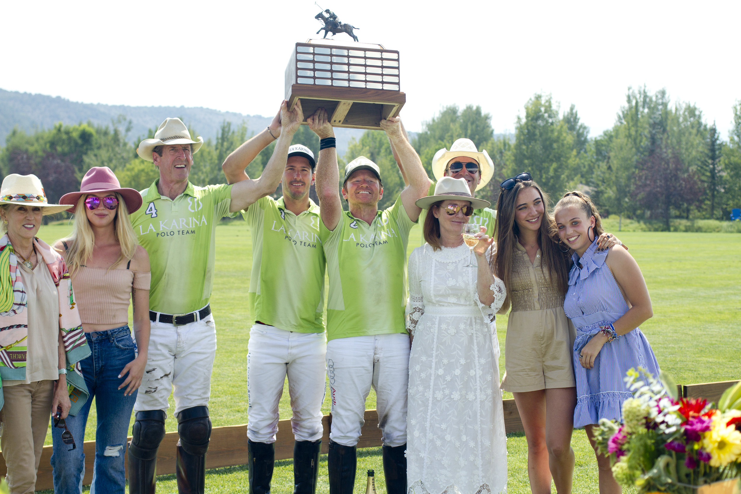 Rocky Mountain Open winning team La Karina's Stewart Armstrong, Nic Roldan, Marc Ganzi and Brian Boyd with the polo player auction's highest bidders.
