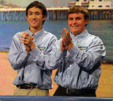 Pablo (left) with his friend Benji (right) on Wheel of Fortune.