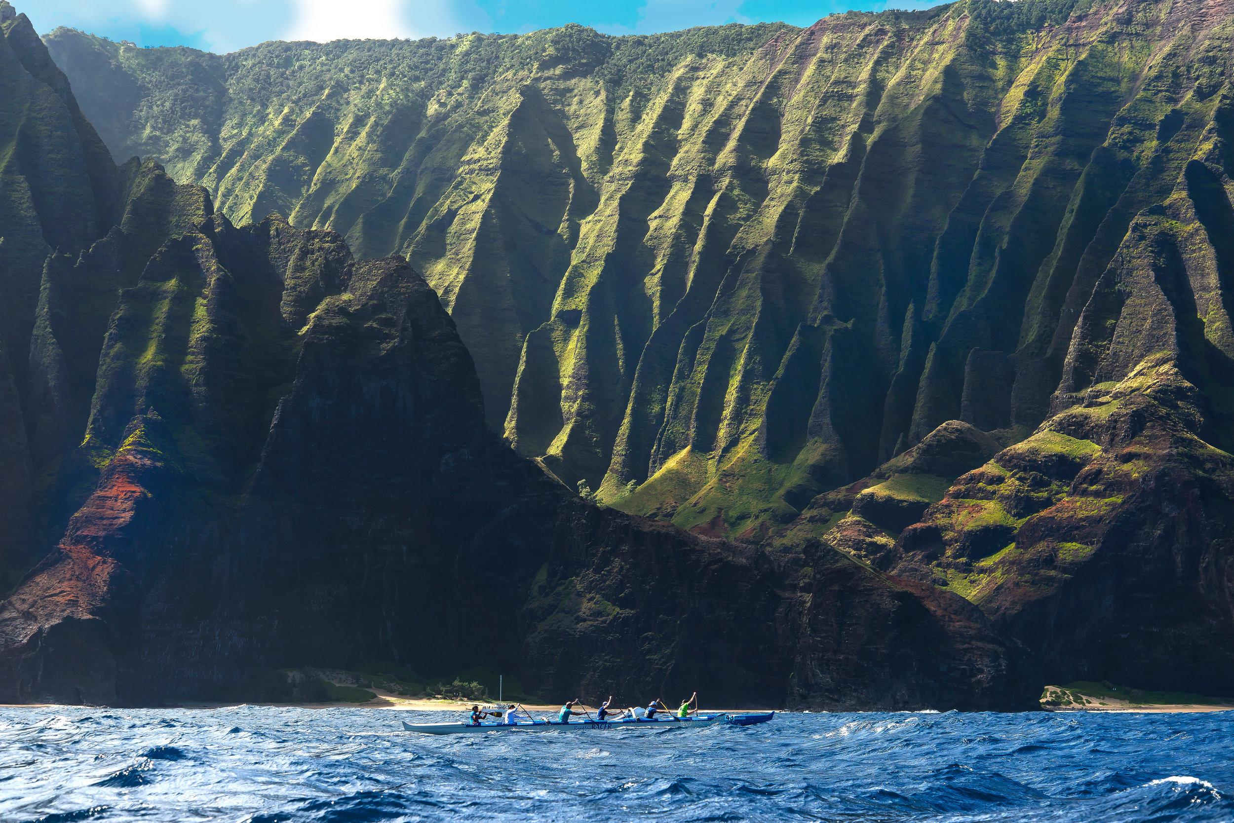Creighton and Kailua Canoe Club paddling off Kauai. Photo courtesy of Creighton litton.