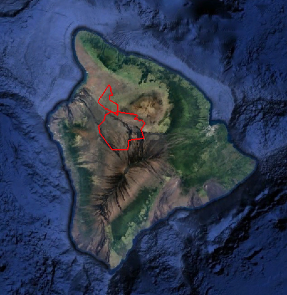 Pohakuloa Training Area on the Big Island of Hawaii, outlined in red. Google Earth imagery.