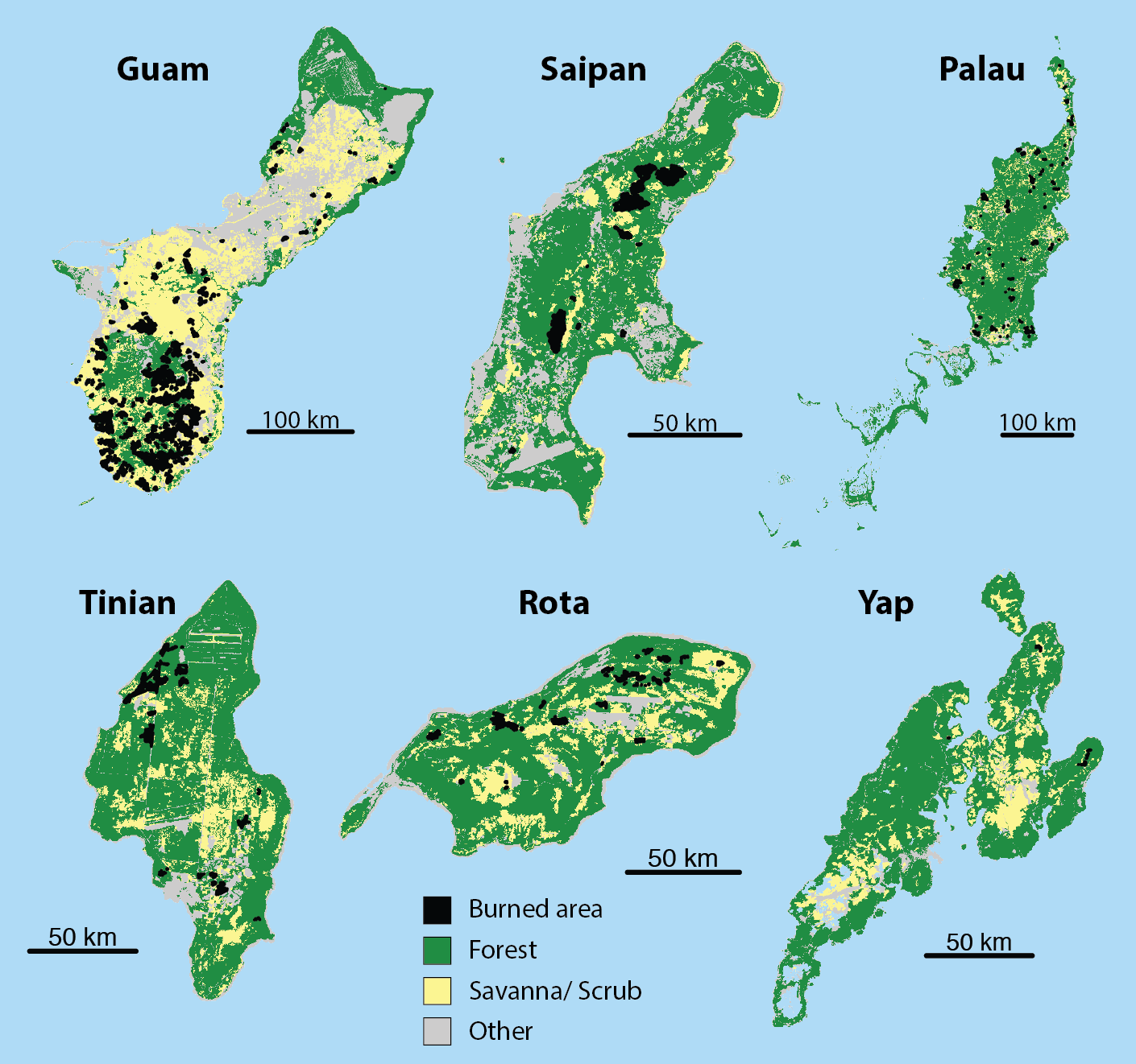 Figure 1. Island land cover, with areas burned by fires in 2018 indicated in black. Land cover data from LANDFIRE.