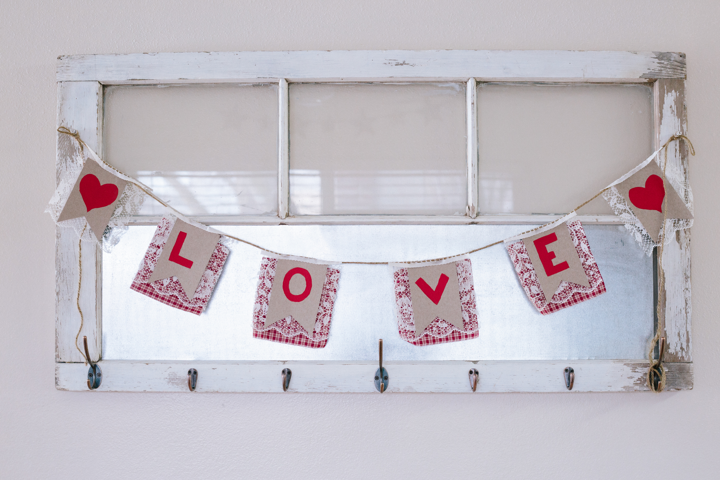 Shabby Chic, Rustic, Country Valentine Banner