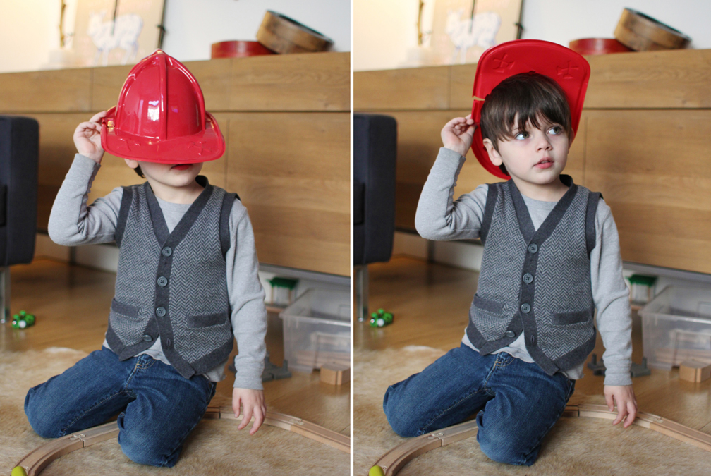 """Thanks, Tate, for letting us steal your Mamaroneck firefighter hat!Everett insists on wearing it constantly and walks around saying  """"I'm a firefighter"""" ."""
