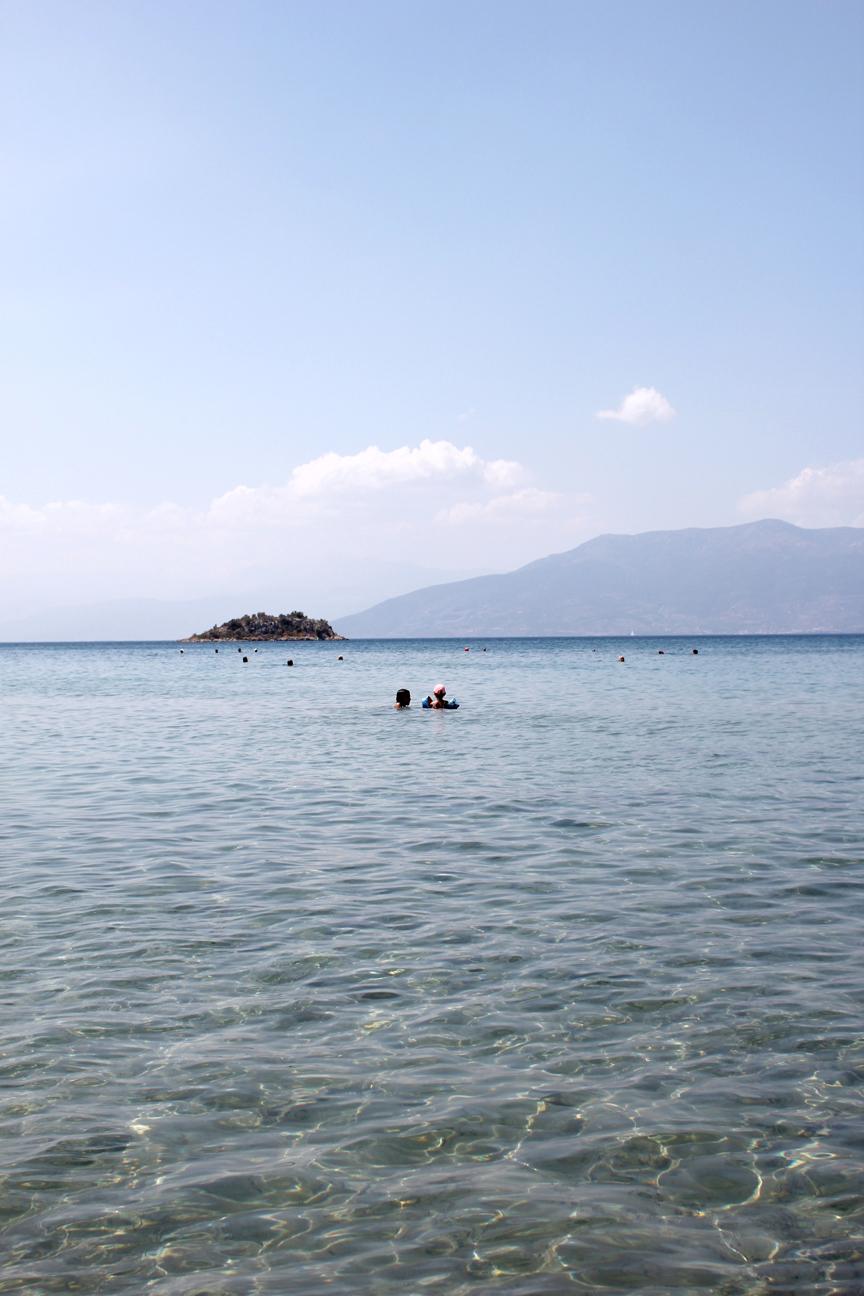 We spent every morning at Karathona Beach, and it was perfect.Pristine, shallow water allowed for playing in the sand or the water, and providedgood swimming for both kiddos and grownups, as well as a stunning view of the mountains all around.