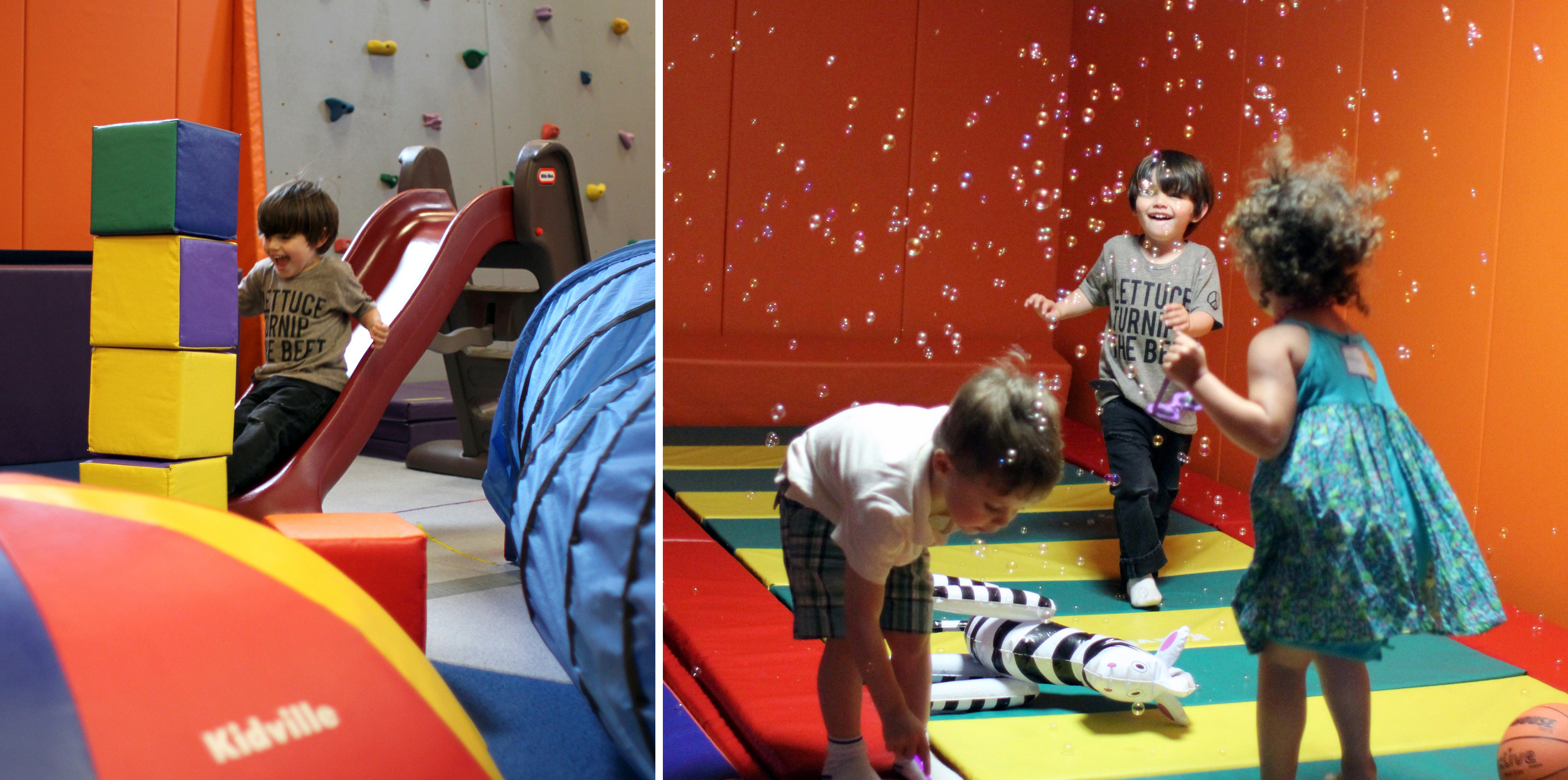 """Anna's birthday party at Kidville was the catalyst for The Best Day Ever. It started with a visit to the pool where Everett and I have our Saturday morning swimming lessons, which is pretty sweet in itself. But the real magic kicked in after nap, when we got on the subway train together. Somehow we've managed to go all this time without ever having to take the kids on the subway (we always just drive wherever we need to go), but Kidville is only a few stops away, and Everett is big enough to appreciate public transportation. Riding the subway train was such a treat! He was such a good boy, saying """"we go to the train now!"""" the whole walk to the station, andholding my hand the entire time we were underground. The whole thing was so exciting. And of course, right outside of the Carroll Street subway stop in the block between the station and Kidville is... a playground! Good thing we were 15 minutes early and had some time to play! But nothing beat the actual party, where there was an indoor gym, a trampoline, dancing in bubbles, balloons and juice and red grapes and pizza! Getting sent home with a balloon was the icing on the cake, and Everett now putters around the house going """"balloon, too,"""" dragging it behind him everywhere he goes."""
