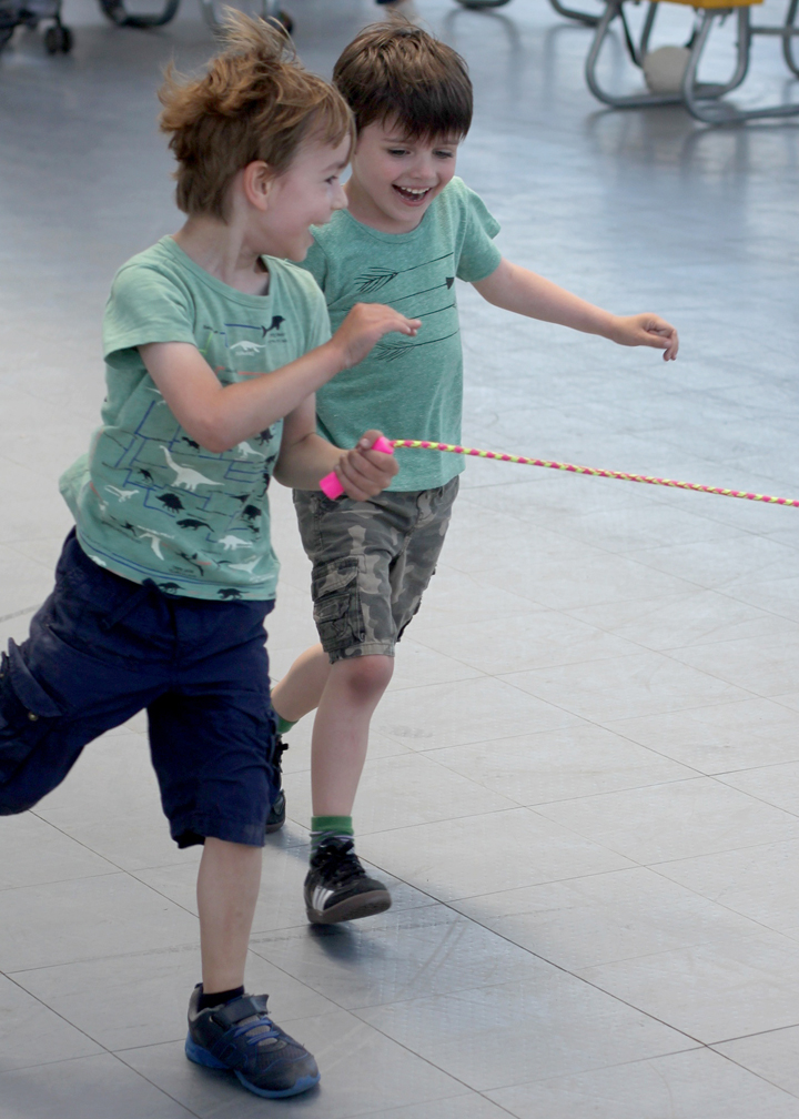 And then stole a jump rope to play some spontaneous, hilarious, runningtug-of-war game.