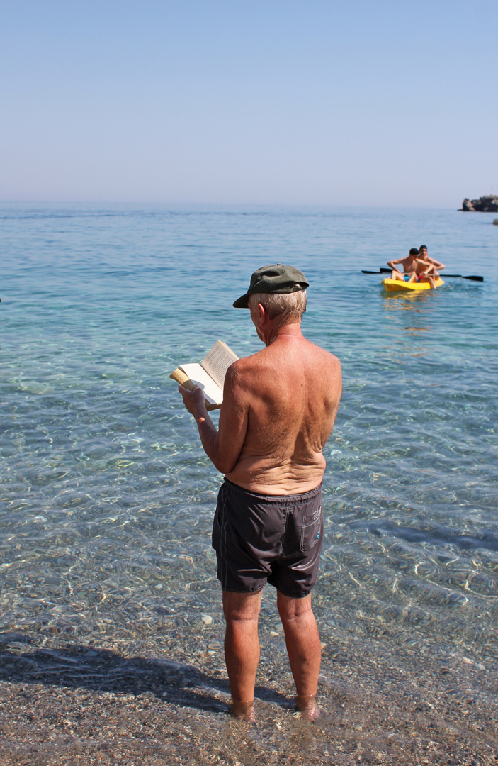 Scott and I marveled (and giggled) as we watched this gentleman out of the corner of our eye. He read at least an entire chapter of his book standing ankle-deep in the water and taking care to rotate his body slowly, making sure he tanned evenly. #LifeGoal