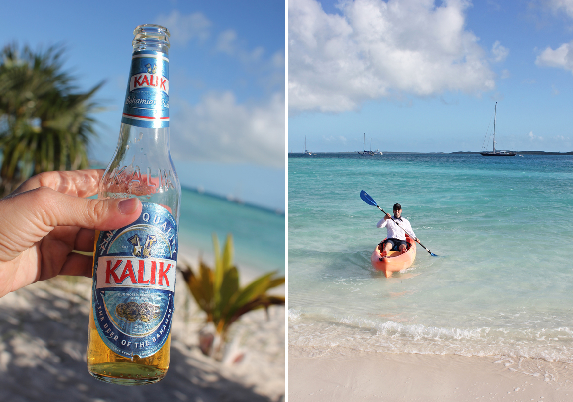 Scott kayaked around the island from our room to the beach. Meanwhile, I also exercised…. my  patience  waiting for him with a cold beer.