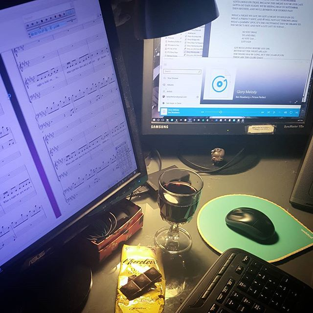 Just a quiet Thursday evening of wine, chocolate, and musical theater transcription. #bottomlesscupmusic #pictureperfect #roseberryandklose