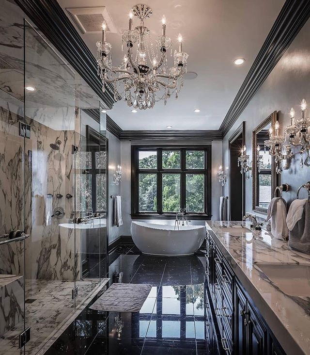 Stunning Master Bathroom. Wouldnt you agree?? Anything is possible to have if you want it bad enough; even a master bathroom like this one. Marble Marble Marble....Esquisite, Luxurious & Beautiful!!! Be creative everyday. Dont turn off or stop creating!!! It's part of living and making yourself happy!! But, some of us need help to get started, that's where I come in.... Visit: www.theblvd.info or www.designsbysaintgrey.com  Brought to by Reynolds Architecture and Design- Illinois #masterbathroom #marblebathroom #newconstruction #reynoldsarchitectureanddesign #amazingcreativity #remaxgrand #remaxgrandlll #theblvddotinfo #designsbysaintgrey