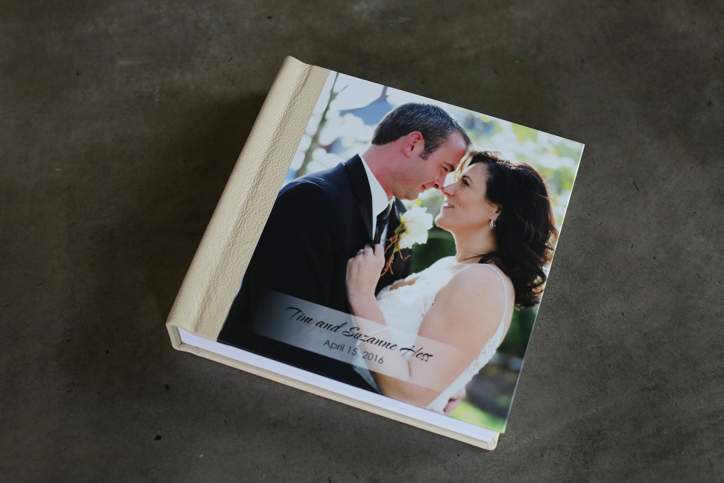 "10"" x 10"" Lustre Book with Cream Leather"