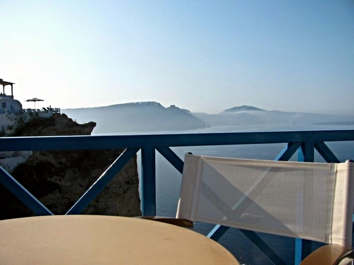2011: A calm and misty morning looking out at the caldera in Santorini, Greece.