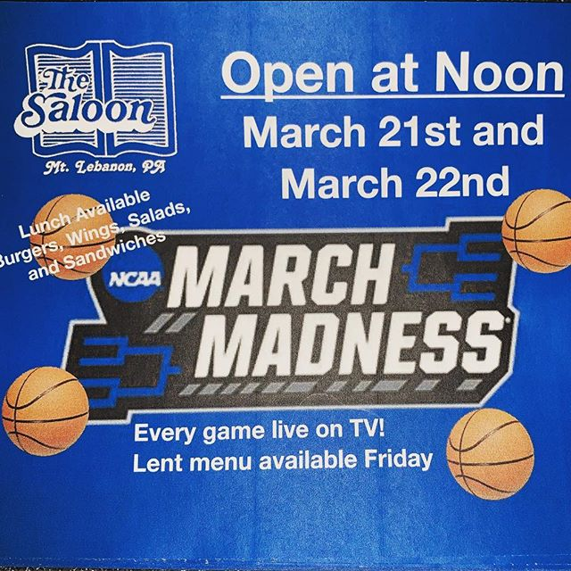 Join us tomorrow and Friday for lunch and 🏀 🏀. March Madness is here!  Lent menu available Friday.  #lebosaloon #ncaabasketball #beer