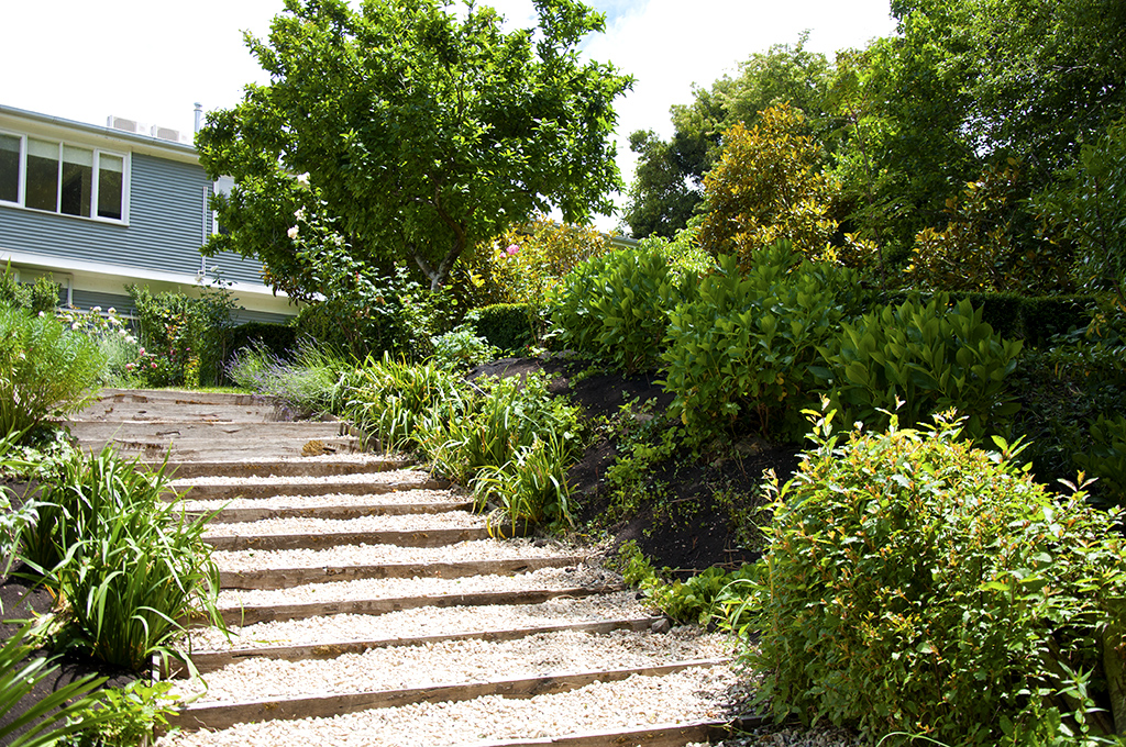Stairs leading down to the lower garden