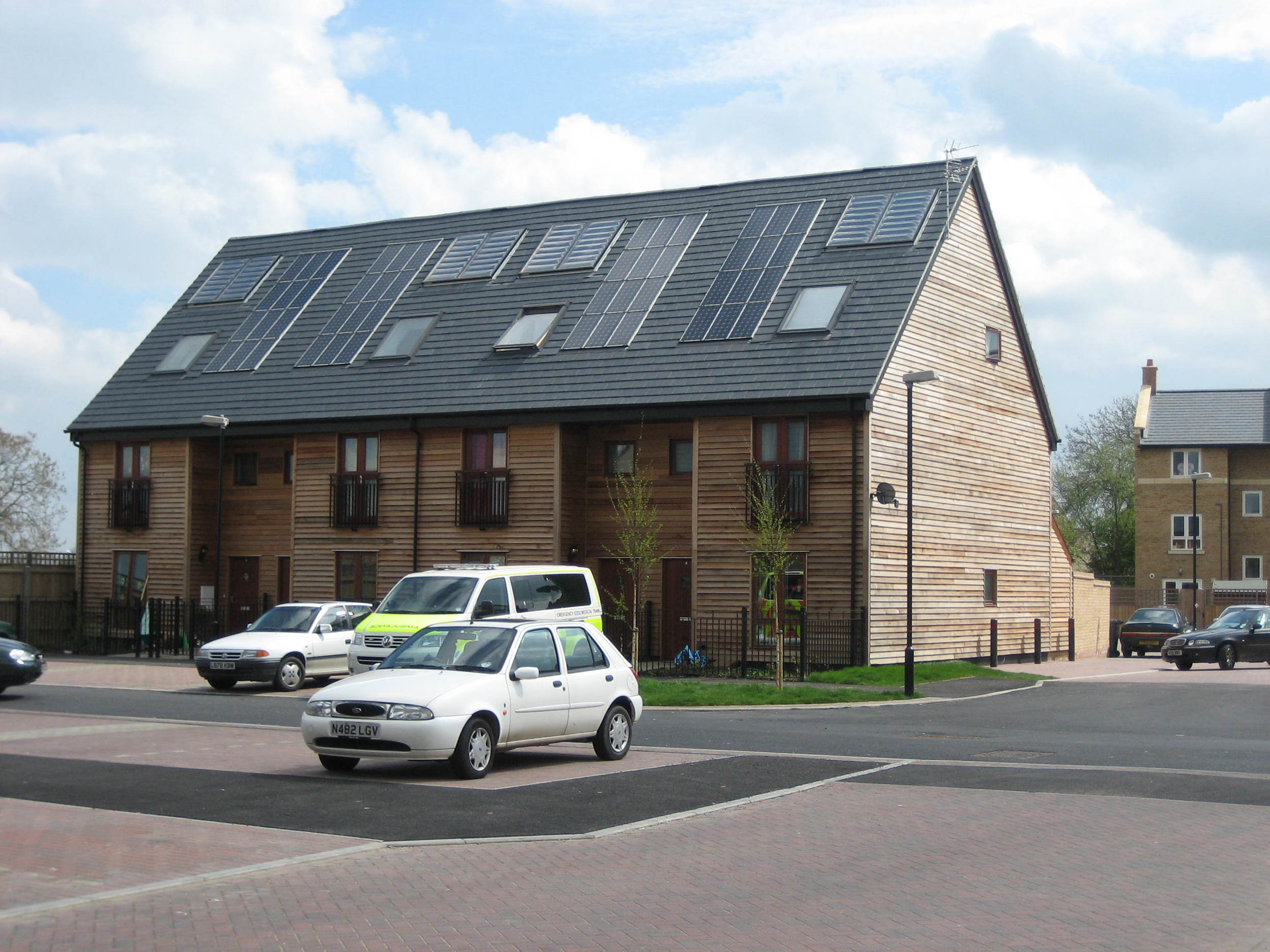 Flat plate colletors and PV modules integrated into the roof - Cambourne.JPG