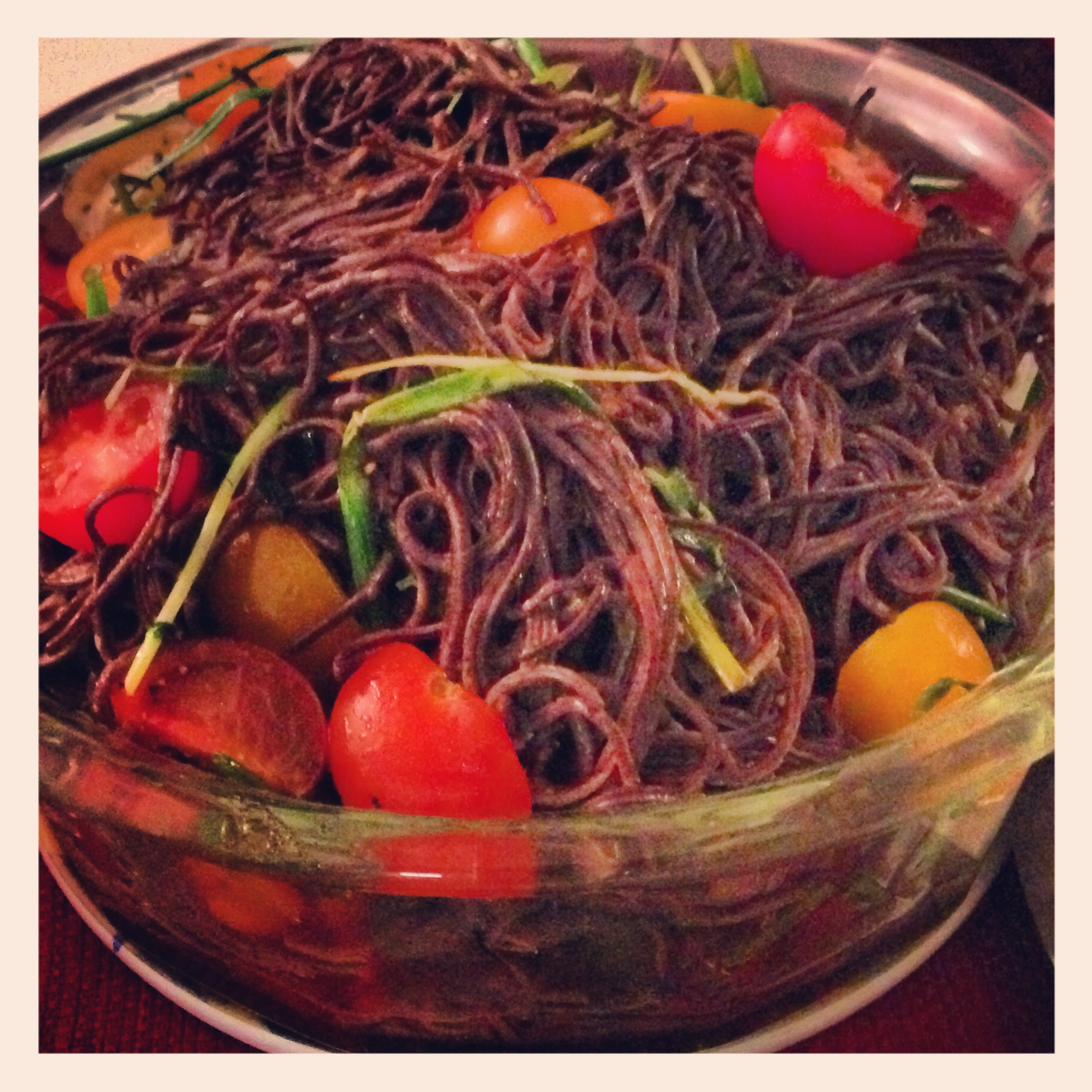 BLACK BEAN PASTA WITH TOMATOES AND CHIVES