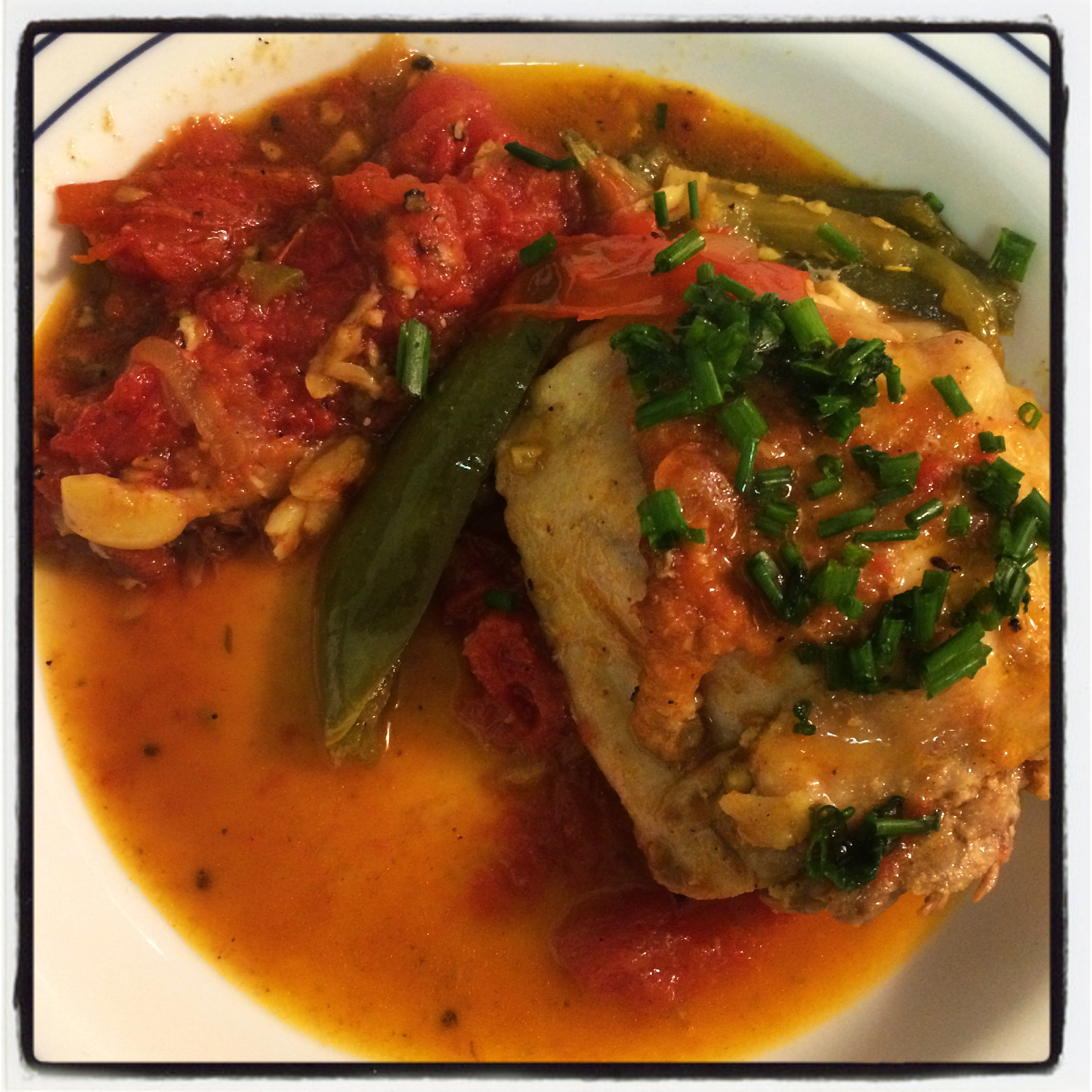 CHICKEN AND CHIVES IN A TOMATO JALAPENO STEW