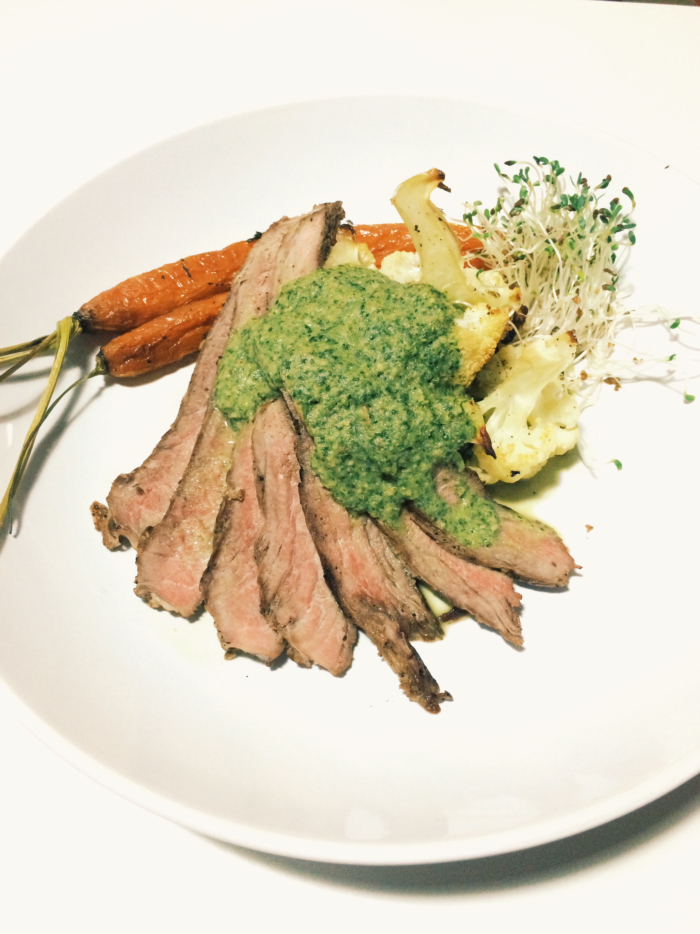 STEAK WITH ROASTED VEGETABLES AND A CILANTRO SPROUT SAUCE