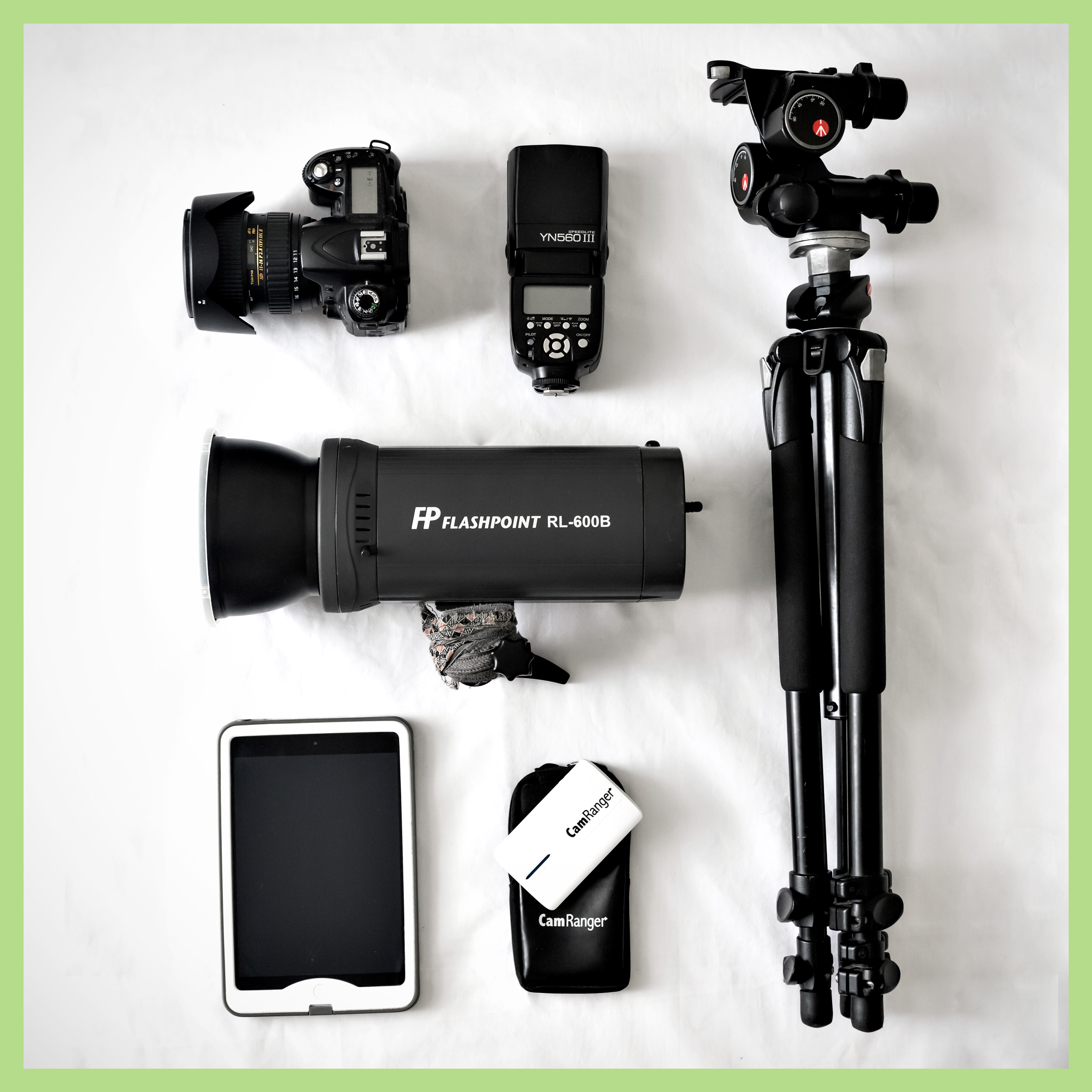 The gear I use in the course, and bring to every one of my shoots. Owning the large 600ws Rovelight is not necessary to follow the course; I use a basic speedlight in most of the videos.