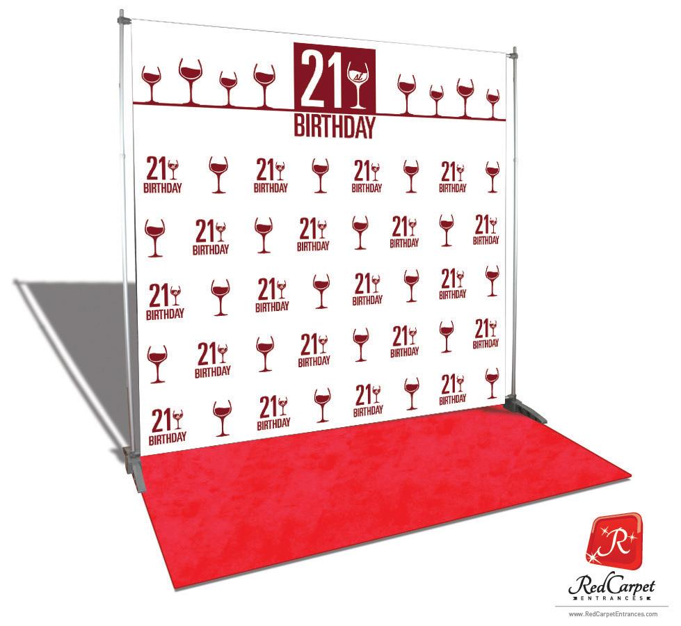 21st Birthday Backdrop White 8x8 Red Carpet Runner