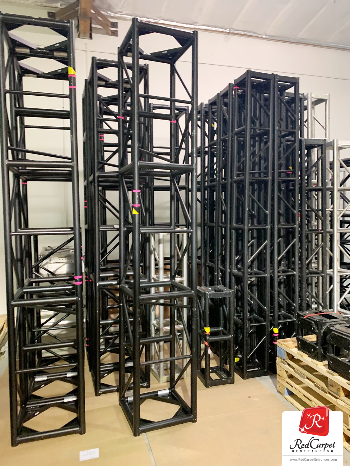 black stage truss aluminum