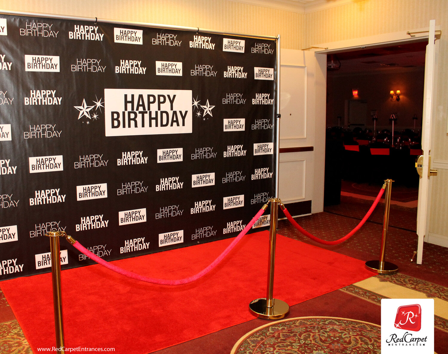 Banner Design Party Event Made in USA #4020 Black and Royal Step and Repeat Backdrop Photo Booth Stand Red Carpet