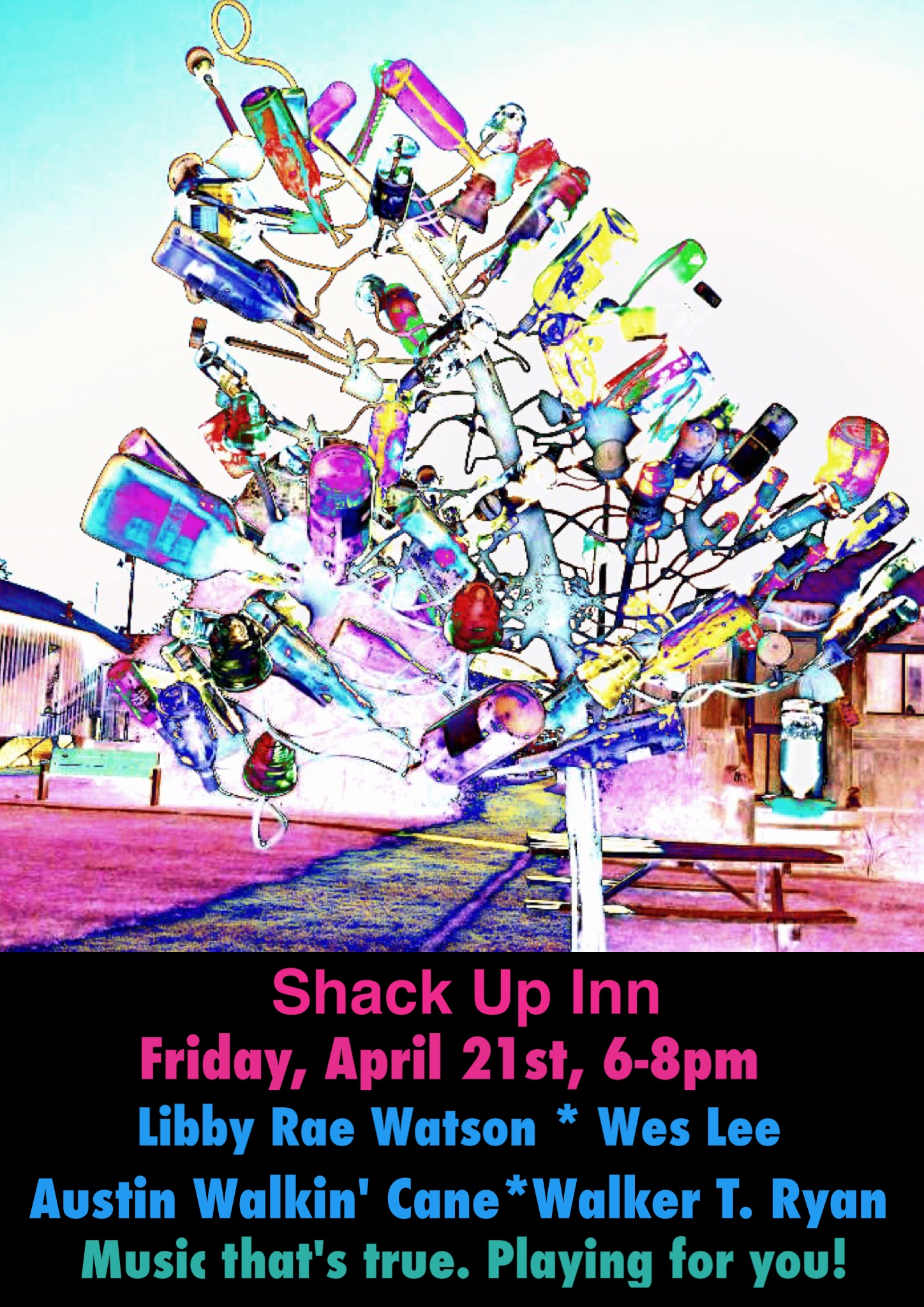 Coming up Friday, April 21st! Shack Up Inn! Clarksdale, MS, y'all!!!
